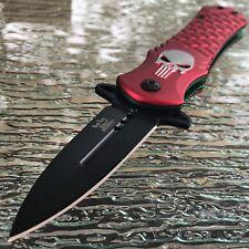 DARK SIDE BLADES Skull Punisher Red Tactical Spring Assisted Pocket Knife Open