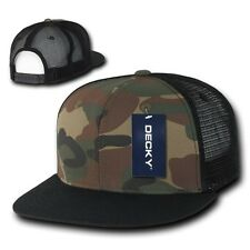 Black & Forest Camouflage Woodland Camo Flat Bill Mesh Snapback Trucker Cap Hat