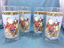 4 Anchor Hocking Debbie Mumm Santa & Wildlife Glass Tumblers Christmas Holiday