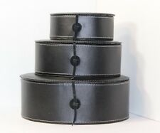 SET /3 BLACK VEGAN FAUX LEATHER STACKING NESTING ORGANIZERS DESK OFFICE STORAGE