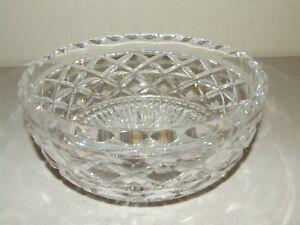 Beautiful Heavy Waterford Glass Crystal Bowl Ireland Criss Cross Diamond Pattern