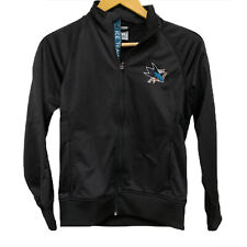 San Jose SJ Sharks Full Zip Jacket NHL Level Wear Womens Small Athletic Black