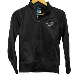 Womans San Jose SJ Sharks Full Zip Black Jacket Sweater NHL Level Wear Athletic