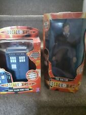 DOCTOR WHO TARDIS TALKING MONEY BANK AND 30CM TENTH DOCTOR ACTION FIGURE