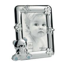cornice portafoto azzurro Mascagni bimbo kids bear argento 10x15 cm silver M867
