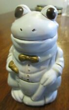 Frog Toad Bow Tie Ceramic Dressed Dapper Blue Gray White Gold Pipe Figurine