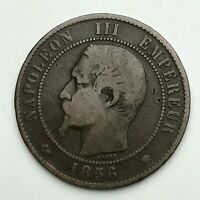 Dated : 1856 MA - France - 10 Centimes - Dix Centimes Coin - Napoleon III