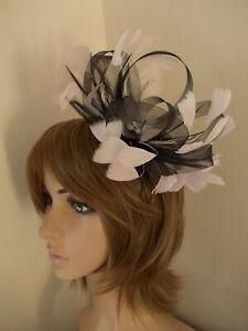 Black & Pale Pink Looped fascinator feathers diamante headband
