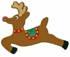 Lot of 12 Pieces Painted Wood Cut Out Shape - Glitter  Reindeer