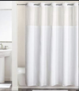 "Hookless Shower Curtain Plain Weave White Polyester Fabric W/ Window 71"" X 77"""