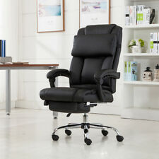 Executive Office Chair Ergonomic Armchair Reclining High-Back Leather Footrest