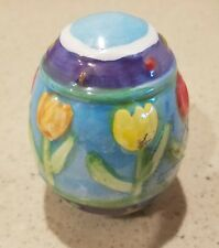 Pretty Hollow Decorated Ceramic Egg 2.75in high