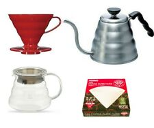 Hario V60 Coffee Pour Over Red Ceramic Dripper Gooseneck Jug,Papers,Clear Server