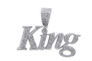 "Diamond Simulant ""KING""  Pendant 14K White Gold Over Silver"