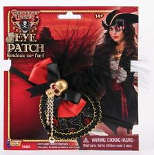 Deluxe Ladies Pirate Eye Patch with Feathers & Lace Pirate Costume Accessory