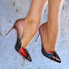 Ladies Pointed Toe Multicolor Stiletto Heels Classy Patent Closed Toe Court Shoe