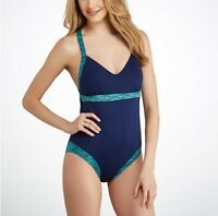 TYR Active Sonoma Open Back Wire Free One Piece Navy Blue Swimwear Size XL