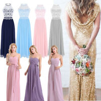 Women Lace Chiffon Bridesmaid Dress Long Evening Prom Party Formal Cocktail Gown