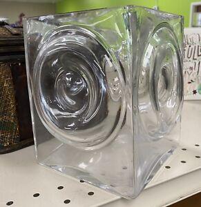 "Crate & Barrel Clear Glass 7"" Square Vase 4 Bullseye Circle Box Cube Bulls Eye"