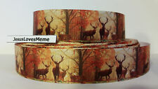Grosgrain Ribbon, Elk Deer Bucks Wildlife in Fall Woods Forest Camo, Antlers, 1""