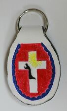 HANDCRAFTED HANDPAINTED LEATHER KEY CHAIN RING RELIGIOUS THE WAY TRUTH LIFE NEW