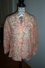 RUBY RD 16 Blouse Burnout Floral Abstract Semi Sheer 3/4 Sleeve XL Blue Green