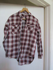 Long Loose Fit Red Grey Cream Check Thick Cotton Shirt by Next in Size 12