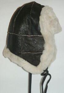 Brown Warm Sheepskin Shearling Leather Russian Ushanka Trapper Trooper Hat S-XXL