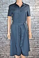 Womens Dark Blue Short Sleeved Cotton Belted Shirt Dress Uk Sizes 10 12 14 16 18