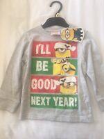 Minion Long Sleeve Grey T-Shirt- Christmas - Funny logo-12 to 18 months- 1-1.5yr