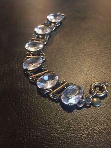 Vintage J.Crew Brass Link and Clear Faceted Cabochon Bracelet