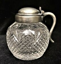 Antique Silver tone Lid & Cut Crystal Glass Honey or Mustard Condiment Jar