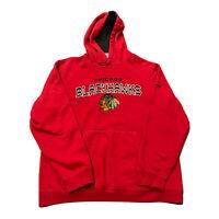 Men's Reebok Chicago Blackhawks NHL Hockey Red Hoodie Hooded Sweatshirt M Medium