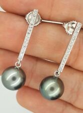 14K WHITE GOLD DROP DIAMOND & BLACK TAHITIAN SOUTH SEA PEARL STUD EARRINGS 11mm