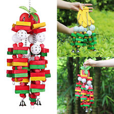 New listing Bird Parrot Toys Bird Swing Toys with Colorful Wood bananas and apples bunches