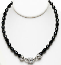 KIRKS FOLLY JET BLACK BEADED MAGNETIC NECKLACE silvertone