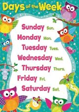 DAYS OF THE WEEK CHILDREN KIDS EDUCATIONAL POSTER CHART A4 SIZE SCHOOL HOME