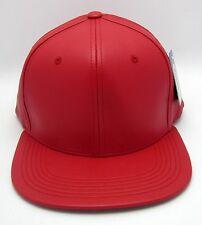 Faux Leather Snapback Cap Hat Hip Hop Headwear Caps Hats Urban Street Wear Red