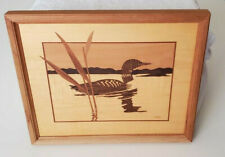 Vintage Wood Inlay Framed Picture Mallard Duck Creative Woods Signed Nelson16x13