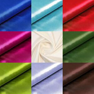 Satin Stoff Meterware Rollenware in 43 Farben Dekostoff Hochzeit Kleidung