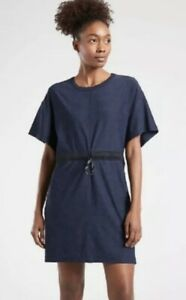 ATHLETA Cross Current Swim Cover-up Dress Navy Blue Women's Medium #566567 $79