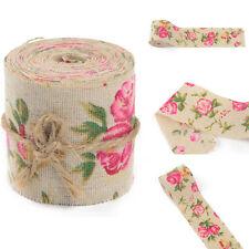 300cm Burlap Hessian Ribbon Rose Floral Print Fabric Craft Wedding Trimming