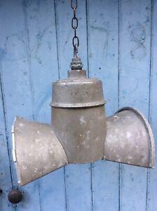 VINTAGE INDUSTRIAL GEC MIRRORED STREET LAMP / CEILING LAMP, FREE UK DELIVERY