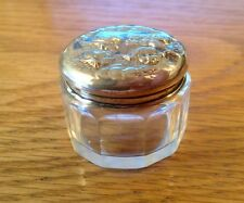 SOLID SILVER LIDDED GLASS PILL POT BIRMINGHAM 1910 BOOTS PURE DRUG COMPANY