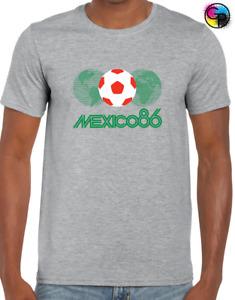 MEXICO 86 WORLD CUP MENS T SHIRT RETRO FOOTBALL KIT SOCCER MARADONA 80'S