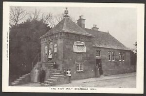 Postcard Broadway Hill nr Evesham Worcestershire early view The Fish Inn pub