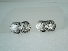 Vintage ART DECO 10kt White Gold Double Sided Guilloche Cufflinks * Gift Box