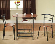 3 Piece Dining Set Furniture Table 2 Chairs Bistro Home Kitchen Diner Metal Wood