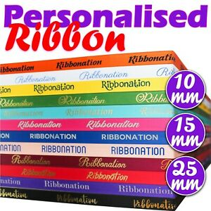 PERSONALISED SATIN RIBBON - FOIL PRINTED - 10MM 15MM 25MM - FOR ANY OCCASION