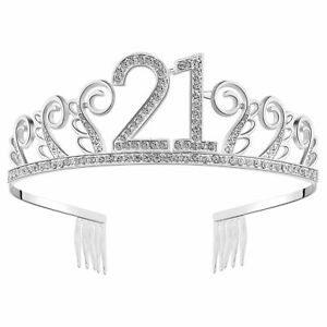 BABEYOND Crystal Birthday Tiara Rhinestone Princess Crown Silver Diamante 21 st
